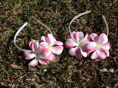 Pink Frangipani head bands