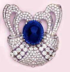 Art Deco Cabochon-Cut Sapphire, Pave Diamond, Baguette Diamond, Diamond And Platinum Brooch