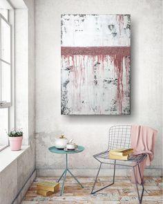 """Freue mich, euch diesen Artikel aus meinem Shop bei #etsy vorzustellen: VICTORIA XL Acryl Gemälde 70x100cm """"Coral"""" Acrylbild Abstrakt, Modern Victoria, Tapestry, Curtains, Shower, Prints, Etsy, Home Decor, Painting Abstract, Matching Colors"""