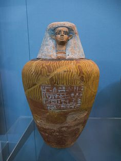 Painted pottery Canopic jar of Senebhenaef, Second Intermediate Period BC), Abydos, Egypt. Ancient Egyptian Artifacts, Ancient Egypt History, Historical Artifacts, Ancient Aliens, Painted Pottery, Pottery Painting, Canopic Jars, Modern Egypt, Empire Romain