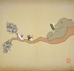 Elephant bunny Archival Art Print 8x10 nursery by LeniSomnia