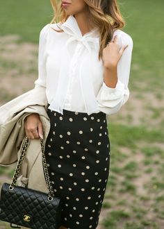 polka-dot-pencil-skirt | lace and locks