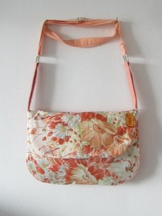 Top Side Pastel Floral  and Peach Purse with adjustable strap on Etsy, $16.89 CAD