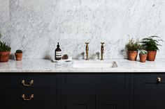 Hana Snow Styling, Dark Painted kitchen, marble, simplistic styling, green, terracotta, houseplants, potted herbs, brass taps, Bibcock taps, Aesop
