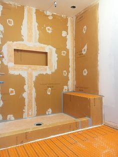 Creative Ideas Can Change Your Life: Tub To Shower Remodeling Walk In shower remodeling on a budget tile.Single Stand Up Shower Remodel. Rustic Master Bathroom, Master Shower, Modern Bathroom Decor, Bathroom Layout, Shower Tub, Bathroom Ideas, Oye Plage, Schluter Shower, Bathroom Tile Installation