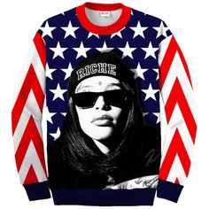 Splurge Beyonce's Instagram Revolution Riche Aaliyah Tribute... ❤ liked on Polyvore featuring tops, sweaters, shirts and sweatshirts