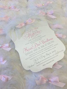 Thank heaven for little girls!  Angel wing christening invitation xo embellishments
