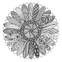 Art therapy for adults - Free printable coloring page for grown ups - Sunflower - Fleur de tournesol - Dessin à imprimer gratuit - Coloriage anti-stress pour adultes