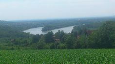 The river Sava. A view from the hills around Obrenovac and Belgrade. Serbia.