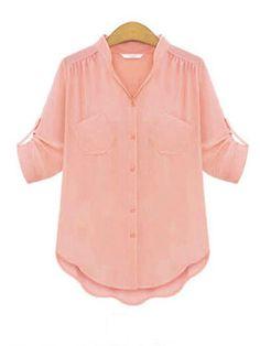 Sale 18% (9.55$) - Fashion Casual Short Sleeve Chiffon Flounced Hem Loose V-Neck Blouse
