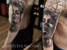 Woman Eye and Watch Realistic Tattoo by Lorenzo Evil Machines, Roma - Italia