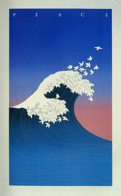 Artist: McRay Magleby.    Peace Wave.  Brigham Young University Graphics, Provo, Utah, 1985.  Publisher: Shoshin Society.