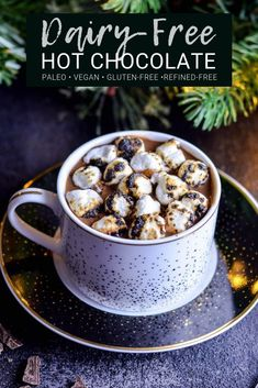 Ultra thick & creamy Dairy-Free Hot Chocolate recipe for serious chocolate lovers. Made from scratch & ready in 15 minutes! This is the BEST Paleo and vegan hot chocolate you will ever drink! Dairy Free Hot Chocolate, Paleo Chocolate, Hot Chocolate Recipes, Chocolate Lovers, Chocolate Desserts, Healthy Dessert Recipes, Smoothie Recipes, Drink Recipes, Healthy Drinks