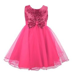 Sequin Bow Dress - Hot Pink 13-14yrs
