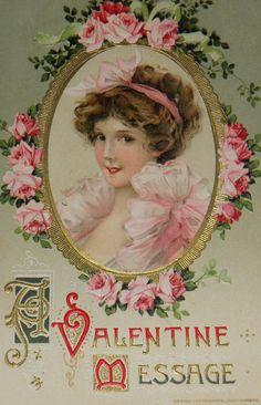 A Valentine Message, beautiful old postcard!