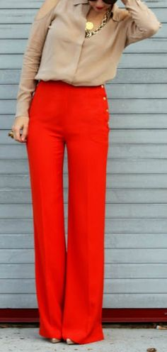 Red Wide-Leg Pants. Make a statement!