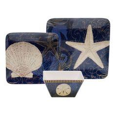 Coastal Moonlight 18-piece Melamine Dinnerware Set