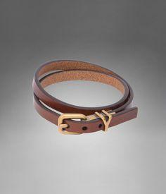 Bracelet fin YSL double tour en cuir marron - Bracelets et Bijoux – Accessoires – Homme – Yves Saint Laurent – www.ysl.fr