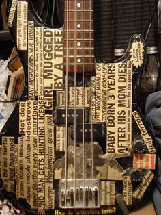 news paper pasted guitar fender bass