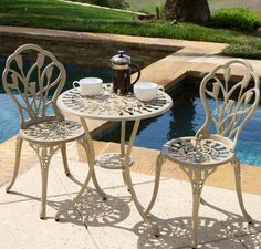 Bistro Table With Chairs 3 Piece Small Patio Set Outdoor And Indoor Cast Iron #ChristopherKnight