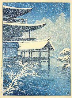 川瀬巴水 「雪の金閣寺」 大正11  Kawase Hasui, Snow at Kinkakuji Temple, 1922