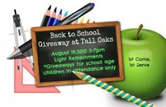 Back to School Giveaway at Tall Oaks in Laurel, MD