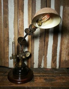 Vintage Upcycled Repurposed One-of-a-kind Steampunk Machine Industrial Age Geared Pixar Desk Lamp w/ Edison Radio Style Filament Light Bulb