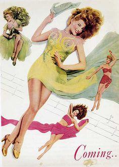 rita hayworth; ''cover girl'' studio art 1944 Rita Hayworth, I Movie, Movie Stars, Retro Makeup, Music Illustration, Romance, Gene Kelly, Vintage Ads, Vintage Glamour