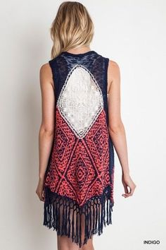 UMGEE Boho Chic Crochet Sleeveless Summer Sweater. Perfect with shorts, capri's or skinny jeans this Summer