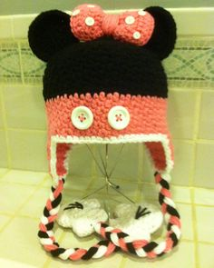 Crochet Minnie Mouse Hat Mikey Mouse Earflap Cap by YarnArtista, $30.00