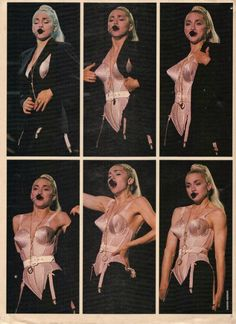 Madonna undressing in Express Yourself during the Blond Ambition Tour Madonna Looks, Lady Madonna, Madonna Mode, Jean Paul Gaultier, Madonna Fashion, 90s Fashion, Madonna Costume, Hallowen Costume, Halloween