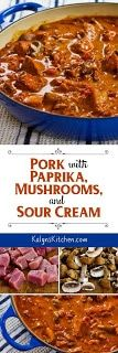 Pork with Paprika, Mushrooms, and Sour Cream is a delicious low-carb and gluten-free dish to balance out all the holiday treats! Or serve over rice or noodles if you don't care if it's low in carbs! Meat Recipes, Slow Cooker Recipes, Low Carb Recipes, Cooking Recipes, Diced Pork Recipes, Sausage Recipes, Pork Dishes, The Best, Paleo