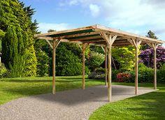 Voici un carport en bois traité autoclave, avec un toit plat, qui se monte facilement en jour seulement!