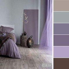 Grey and purple color inspiration,Grey and purple color schemes Bedroom Colour Palette, Bedroom Color Schemes, Bedroom Colors, Bedroom Decor, Mauve Bedroom, Decoration Design, Deco Design, Purple Color Schemes, Purple Paint Colors
