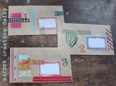 """Project """"365 - creating daily"""" day 24: envelopes decorated with washi tape and stamping Anke Humpert 1/2014 #365creatingdaily"""