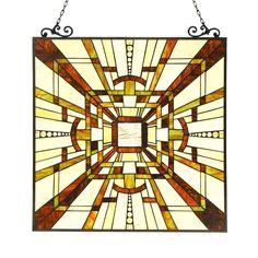 Chloe Tiffany Style Mission Design Window Panel/Suncatcher - M, Multicolor, Chloe Lighting(Glass) Modern Stained Glass Panels, Custom Stained Glass, Stained Glass Patterns, Stained Glass Art, Stained Glass Windows, Mosaic Windows, Window Glass, Mosaic Glass, Glass Door