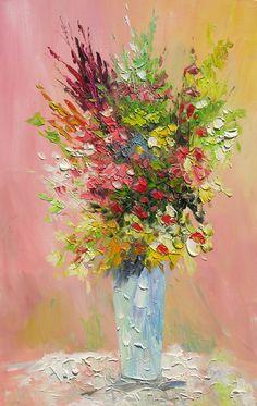 ORIGINAL Oil Painting April Bouquet 36 X 23 Palette by decorpro, $235.00
