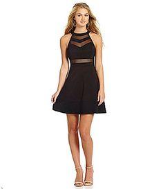 Honey and Rosie Sleeveless HighNeckline Illusion Skater Dress #Dillards