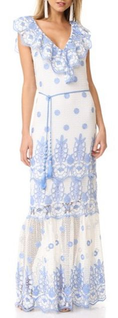 Gorgeous Blue Lace Maxi Dress