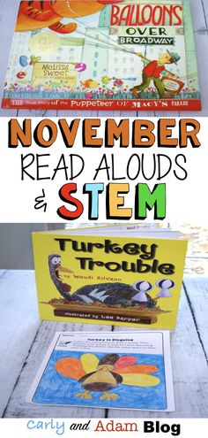 November STEM Read Alouds (Thanksgiving Read Alouds): We love using read alouds and STEM activities to create a fun and engaging classroom. Students love the hands-on learning Thanksgiving STEM challenges that incorporate, reading, writing, and making. Library Activities, Stem Activities, Toddler Activities, Kindergarten Stem, Science For Toddlers, Library Lessons, Stem Challenges, Stem Projects, Thanksgiving Activities