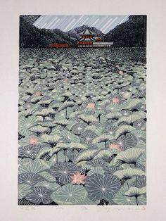 """Ray Morimura """"Shinobazu Pond"""" Large Japanese Woodblock Print (2011)"""