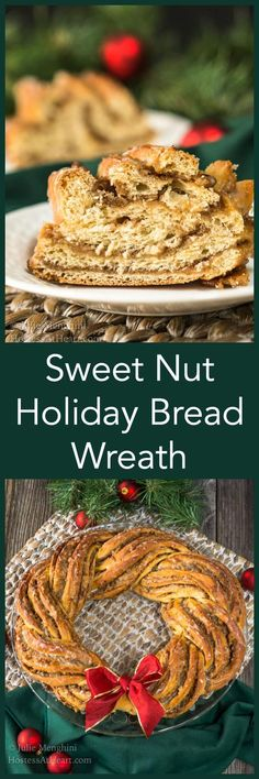 Sweet Nut Holiday Bread Wreath BreadBakers is part of Braided bread Wreath - Sweet Nut Holiday Bread Wreath makes a beautiful addition to your holiday table or a heartfelt gift for special family or friends Holiday Bread, Holiday Baking, Christmas Baking, Christmas Brunch, Christmas Desserts, Christmas Treats, Christmas Deco, Christmas Cookies, Brunch Recipes