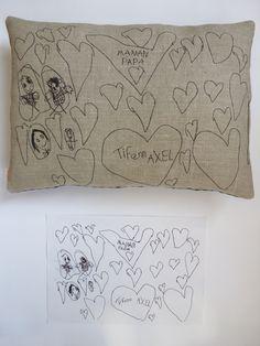 """Création textile Zut! pièce unique Dessin d'Axel 4 ans, des cœurs et des """"portraits"""" de la famille... petits personnages à la Tim Burton! Surprise pour l'anniversaire de sa maman Gaele ! http://www.atelier-zutfrance.com/"""