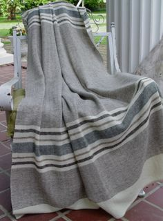 Available to Ship Friday May 9 2014 Merino Wool Blanket Hand Woven by Dianne Nor… – 2019 - Blanket Diy 9 Mai, Grey Stripes, Merino Wool Blanket, Hand Weaving, Textiles, Hands, Friday, Ship, Knitting