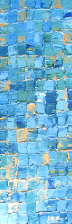 Highly textured abstract acrylic squares painting (blue green aqua white turquoise gold) by Karyn Linnell
