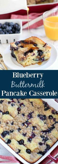 "Blueberry Buttermilk Pancake Casserole - Thick and fluffy baked buttermilk pancake casserole filled with fresh blueberries and topped with a brown sugar crumble. The easiest and tastiest ""pancake"" you'll ever eat! #buttermilkpancakesrecipesugar"