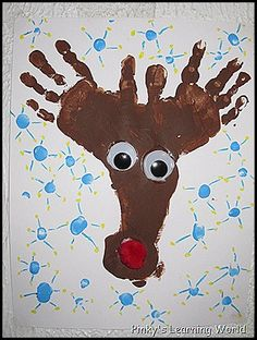 Handprint footprint Rudolph @Laura Emerson see laura xmas crafts in line already!