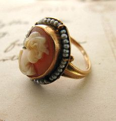 10K Gold and Seed Pearl Cameo Ring