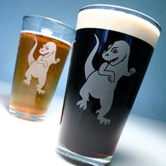 Sadly, T-Rex couldn't drink from his own glass on account of his little arms.