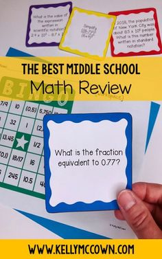 Are you reviewing math skills? The BEST End of Year Math Review Game is HERE! Play with your students in grades 5, 6, 7, 8. They will be having so much fun they won't know it's for review. Download the math BINGO game for your kids today! Math Bingo, Fun Math, Math Games, Math Activities, Bingo Games, Math Worksheets, Maths, Math Test, 8th Grade Math